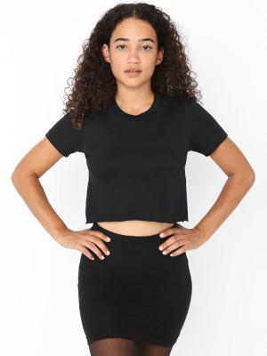 015b70d0c14 American Apparel 2380 Fine Jersey Short Sleeve Cropped T-Shirt (Black / L)