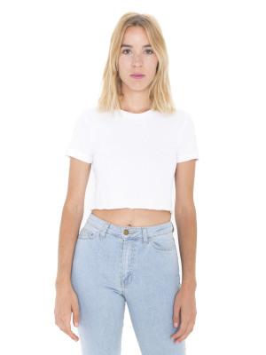 bf256b28f2b American Apparel 2380 Fine Jersey Short Sleeve Cropped T-Shirt (White / L)